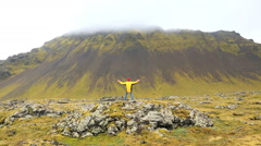 Iceland Snaefellsnes Peninsula West mountain male Stock Footage