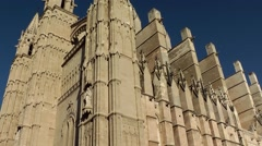 Spain Palma de Mallorca 050 Gothic style Cathedral south-west side Stock Footage