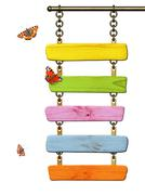 Wooden signboard and butterflies - stock photo