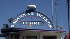 Ferry boat docks at the waterfront, Savannah, GA, USA Stock Footage