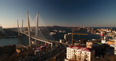 Cable-stayed bridge across the bay in Vladivostok Stock Footage