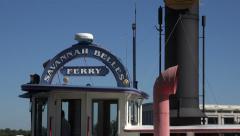 Ferry boat leaves waterfront, Savannah, GA, USA Stock Footage