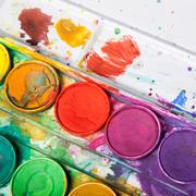Bright colors for watercolor painting Stock Photos