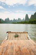 Bamboo rafting li river china Stock Photos