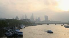 London Bridge River Thames St Pauls dawn travel tourism - stock footage
