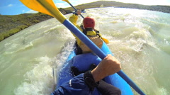 Iceland kayaking canoe river twin people Kayak adventure paddle Stock Footage