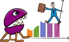 Recession in business cartoon illustration Stock Illustration
