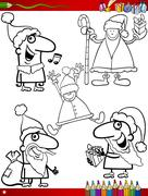 christmas themes coloring page - stock illustration