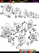 funny fruits set cartoon coloring page - stock illustration