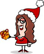 girl santa with present cartoon - stock illustration