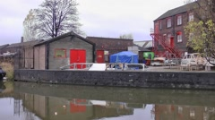 Canalside factory Middleport old industrial building Stock Footage