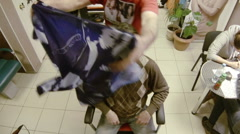 The man in the barbers trimmed. Stock Footage