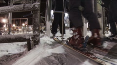 Skis, ski boots, legs. Stock Footage