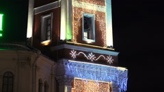 Tower with garlands on Nevsky Prospekt in St. Petersburg. Stock Footage
