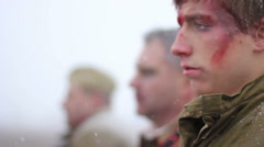 A second before shooting down (rack focus). WW2 reconstruction Stock Footage
