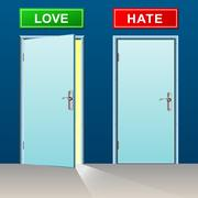 love and hate doors - stock illustration