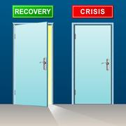 recovery and crisis doors - stock illustration