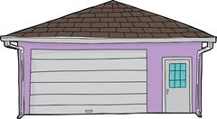 Isolated Closed Door Garage - stock illustration