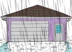 Stock Illustration of Garage with Rain and Spouts