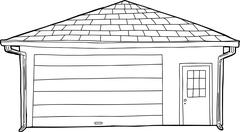 Outlined Single Garage with Door - stock illustration