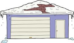 Isolated Garage and Door with Snow - stock illustration