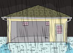 Stock Illustration of Rain Falling on Garage with Doorway