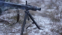 MG 42 shooting close-up. WW2 reconstruction Stock Footage