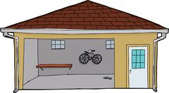 Isolated Garage with Bike and Doorway Stock Illustration