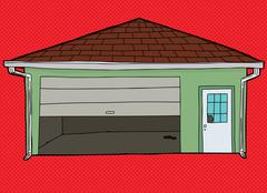 Broken Garage Door Over Red - stock illustration