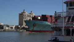 Charles Dickens container ship steams up the Savannah river, GA, USA Stock Footage