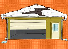 Broken Garage Door with Snow - stock illustration
