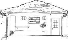 Outline of Garage with Snow on Roof - stock illustration