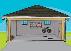 Open Residential Garage - stock illustration