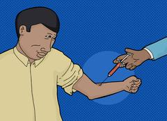 Smiling Guy Getting Blood Test - stock illustration