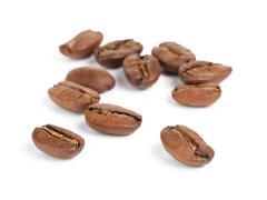 Premium coffee beans isolated on white background Stock Photos