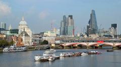 London UK Bridge River Thames St Pauls building boat city - stock footage