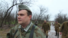 Germans lead to the execution prisoners of Soviet soldiers. WW2 reconstruction Stock Footage