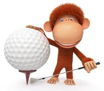 The monkey plays golf - stock illustration