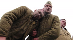 Brave Soviet soldiers before death. World war 2 reconstruction. German, Soviet  Stock Footage