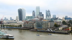 London River Thames boat skyline business Walkie Talkie Building city - stock footage