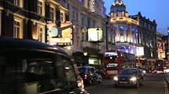 London Shaftsbury Avenue Theatre land illuminated traffic Stock Footage