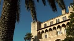 Spain Palma de Mallorca 053 part of castle in old district Dalt Murada Stock Footage