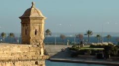 Spain Palma de Mallorca 052 old city wall with watchtower and sea view Stock Footage