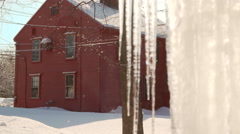 Red Farm House in Winter Snow Stock Footage