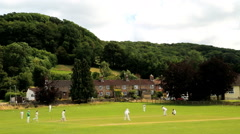 Cotswolds Stinchcombe England Village Cricket green players team - stock footage