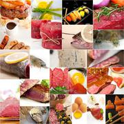 High protein food collection collage Stock Photos
