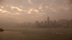 Dawn in HongKong harbor looking from Kowloon - stock footage