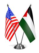 USA and Palestine - Miniature Flags Stock Illustration