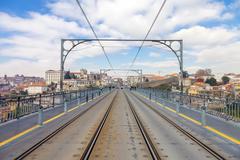 Superior deck of the Dom Luis I bridge in Porto, Portugal - stock photo