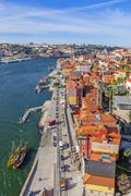 View of the historical Ribeira District and Douro River in the city of Porto - stock photo